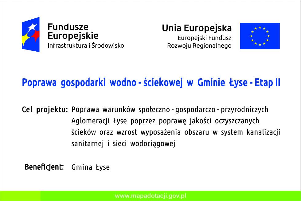 Poprawa gospodarki wodno-ściekowej w Gminie Łyse - Etap II